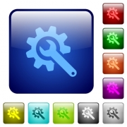 Wrench with cogwheel icons in rounded square color glossy button set - Wrench with cogwheel color square buttons