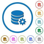 Database configuration flat color vector icons with shadows in round outlines on white background - Database configuration icons with shadows and outlines