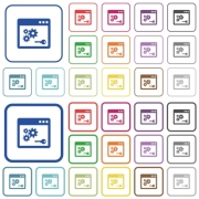 API key color flat icons in rounded square frames. Thin and thick versions included. - API key outlined flat color icons - Large thumbnail