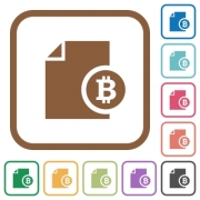 Bitcoin report simple icons in color rounded square frames on white background - Bitcoin report simple icons