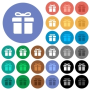 Gift box multi colored flat icons on round backgrounds. Included white, light and dark icon variations for hover and active status effects, and bonus shades on black backgounds. - Gift box round flat multi colored icons