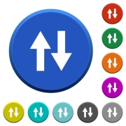 Data traffic round color beveled buttons with smooth surfaces and flat white icons - Data traffic beveled buttons
