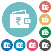Indian Rupee wallet flat white icons on round color backgrounds - Indian Rupee wallet flat round icons