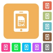 Mobile simcard accepted flat icons on rounded square vivid color backgrounds. - Mobile simcard accepted rounded square flat icons