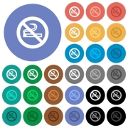 No smoking sign multi colored flat icons on round backgrounds. Included white, light and dark icon variations for hover and active status effects, and bonus shades on black backgounds.