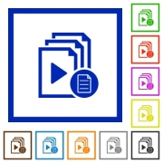 Playlist properties flat color icons in square frames on white background - Playlist properties flat framed icons