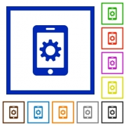 Mobile settings flat color icons in square frames on white background - Mobile settings flat framed icons