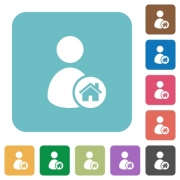 User home white flat icons on color rounded square backgrounds - User home rounded square flat icons