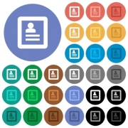User profile multi colored flat icons on round backgrounds. Included white, light and dark icon variations for hover and active status effects, and bonus shades on black backgounds. - User profile round flat multi colored icons