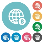 Online Bitcoin payment flat white icons on round color backgrounds - Online Bitcoin payment flat round icons
