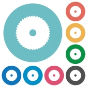 Circular saw flat white icons on round color backgrounds - Circular saw flat round icons