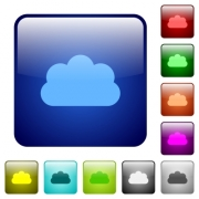 Cloud icons in rounded square color glossy button set - Cloud color square buttons