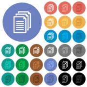 Multiple documents multi colored flat icons on round backgrounds. Included white, light and dark icon variations for hover and active status effects, and bonus shades on black backgounds. - Multiple documents round flat multi colored icons