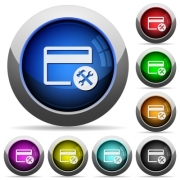 Credit card tools icons in round glossy buttons with steel frames - Credit card tools round glossy buttons - Large thumbnail