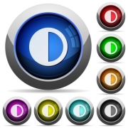 Contrast control icons in round glossy buttons with steel frames - Contrast control round glossy buttons - Large thumbnail