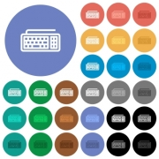 Computer keyboard multi colored flat icons on round backgrounds. Included white, light and dark icon variations for hover and active status effects, and bonus shades on black backgounds. - Computer keyboard round flat multi colored icons