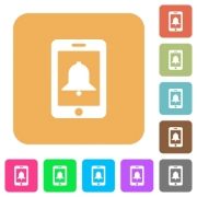Mobile alarm flat icons on rounded square vivid color backgrounds. - Mobile alarm rounded square flat icons