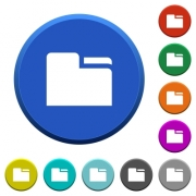 Tab folder round color beveled buttons with smooth surfaces and flat white icons - Tab folder beveled buttons