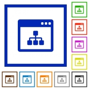 Networking application flat color icons in square frames on white background