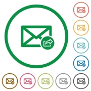 Export mail flat color icons in round outlines on white background - Export mail flat icons with outlines - Large thumbnail