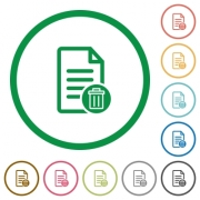 Delete document flat color icons in round outlines on white background - Delete document flat icons with outlines - Large thumbnail