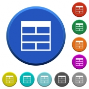 Spreadsheet horizontally merge table cells round color beveled buttons with smooth surfaces and flat white icons - Spreadsheet horizontally merge table cells beveled buttons