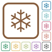 Single snowflake simple icons in color rounded square frames on white background - Single snowflake simple icons