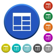 Spreadsheet vertically merge table cells round color beveled buttons with smooth surfaces and flat white icons - Spreadsheet vertically merge table cells beveled buttons
