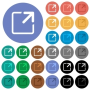 Maximize window multi colored flat icons on round backgrounds. Included white, light and dark icon variations for hover and active status effects, and bonus shades on black backgounds. - Maximize window round flat multi colored icons