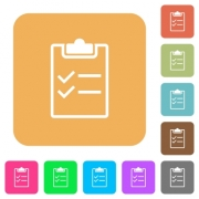 Checklist flat icons on rounded square vivid color backgrounds. - Checklist rounded square flat icons