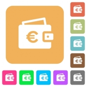Euro wallet flat icons on rounded square vivid color backgrounds. - Euro wallet rounded square flat icons
