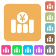 Yen financial graph flat icons on rounded square vivid color backgrounds. - Yen financial graph rounded square flat icons