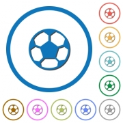 Soccer ball flat color vector icons with shadows in round outlines on white background - Soccer ball icons with shadows and outlines