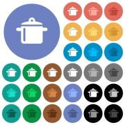 Cooking multi colored flat icons on round backgrounds. Included white, light and dark icon variations for hover and active status effects, and bonus shades on black backgounds. - Cooking round flat multi colored icons