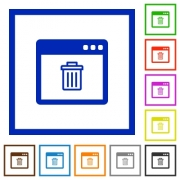 Application delete flat color icons in square frames on white background - Application delete flat framed icons