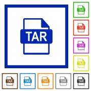 TAR file format flat color icons in square frames on white background - TAR file format flat framed icons