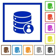 Database privileges flat color icons in square frames on white background - Database privileges flat framed icons