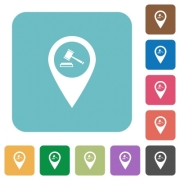 Court house GPS map location white flat icons on color rounded square backgrounds - Court house GPS map location rounded square flat icons