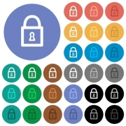 Locked padlock multi colored flat icons on round backgrounds. Included white, light and dark icon variations for hover and active status effects, and bonus shades on black backgounds.