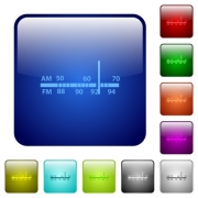Radio tuner icons in rounded square color glossy button set - Radio tuner color square buttons