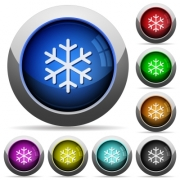 Single snowflake icons in round glossy buttons with steel frames - Single snowflake round glossy buttons