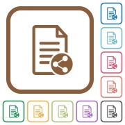 Share document simple icons in color rounded square frames on white background - Share document simple icons