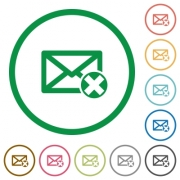 Delete mail flat color icons in round outlines on white background