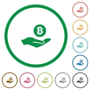 Bitcoin earnings flat color icons in round outlines on white background