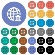 Internet banking multi colored flat icons on round backgrounds. Included white, light and dark icon variations for hover and active status effects, and bonus shades on black backgounds. - Internet banking round flat multi colored icons