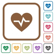 Heartbeat simple icons in color rounded square frames on white background - Heartbeat simple icons