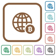 Online Bitcoin payment simple icons in color rounded square frames on white background - Online Bitcoin payment simple icons