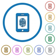 Smartphone fingerprint identification flat color vector icons with shadows in round outlines on white background - Smartphone fingerprint identification icons with shadows and outlines