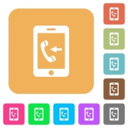 Incoming mobile call flat icons on rounded square vivid color backgrounds. - Incoming mobile call rounded square flat icons