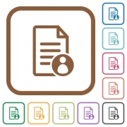 Document owner simple icons in color rounded square frames on white background